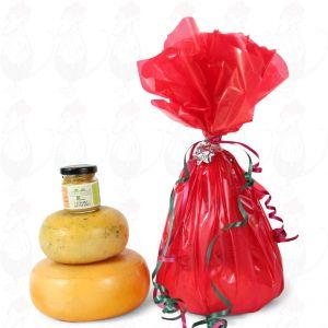 Bauernkäse und Senf Geschenk - Rot