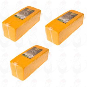 3 X Roter Cheddar-Käse - Mild |  Block of 2,5 kilo / 5.5 lbs