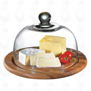 Käseglocke mit Glasdeckel, akazie Ø 25 cm