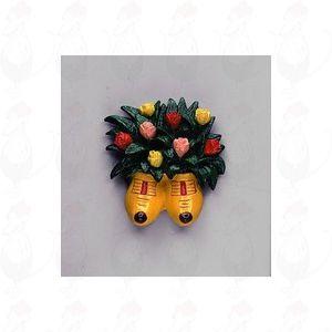 Magnetische Strauß Tulpen in Gelb Holzschuhe