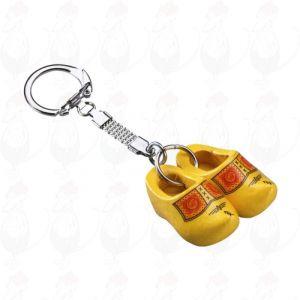 Schlüsselanhänger mit 2 Holzschuhe Bauer gelb