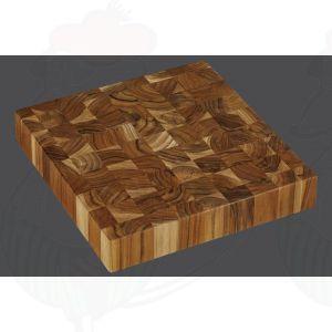 Teak-Hackblock quadrat 30 x 30 cm, Teakholz