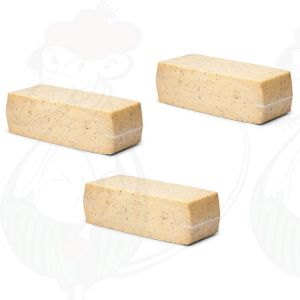 3 X Jung gereifter Kreuzkümmelkäse für Hotels | 3,8 Kilo | Premium Qualität