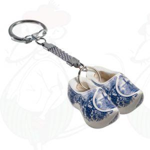 Schlüsselanhänger mit 2 Holzschuhe Delfter Blau